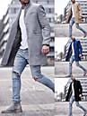 בגדי ריקוד גברים בלשית אַדֶרֶת יומי עבודה חורף ארוך מעיל דש קלאסי רגיל Jackets שרוול ארוך אחיד סגנון קלאסי אפור חאקי שחור