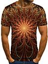 Homens Camiseta Camisa Social Impressao 3D Geometrica Impressao 3D Estampado Manga Curta Casual Blusas Casual Moda Decote Redondo Preto / Vermelho