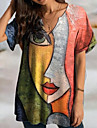 Women\'s T Shirt Dress Tee Dress Short Mini Dress Red Short Sleeve Print Print Fall Spring V Neck Casual Loose 2021 S M L XL XXL 3XL