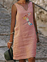 Women\'s Shift Dress Knee Length Dress Yellow Blushing Pink Green Light Blue Sleeveless Animal Print Summer V Neck Elegant 2021 S M L XL XXL 3XL 4XL