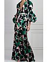 Women\'s Sheath Dress Maxi long Dress Green Long Sleeve Solid Color Tie Dye Print Spring Summer V Neck Casual 2021 S M L XL XXL 3XL