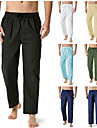 Męskie Chino Spodnie Bawełna Luźna Dom Spodnie Solidne kolory Pełna długość Zieleń wojskowa Khaki Biały Czarny Granatowy