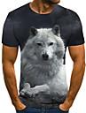 Homens Camiseta Impressao 3D Animal Impressao 3D Estampado Manga Curta Casual Blusas Casual Moda Preto / Branco