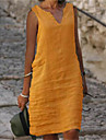 Women\'s Shift Dress Knee Length Dress Blue Yellow Blushing Pink Green Royal Blue Sleeveless Solid Color Summer V Neck Elegant Casual Loose 2021 S M L XL XXL 3XL 4XL