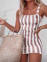 Women\'s Strap Dress Short Mini Dress Blue Yellow Blushing Pink Black Sleeveless Striped Button Spring Summer cold shoulder Chic & Modern Hot Vintage 2021 S M L XL XXL
