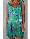 Women\'s Swing Dress Short Mini Dress Green Sleeveless Solid Color Animal Print Fall Summer Square Neck Elegant Casual Loose 2021 S M L XL