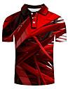 Men\'s Golf Shirt Tennis Shirt 3D Print Geometric 3D Print Print Short Sleeve Casual Tops Personalized Casual Fashion Red