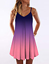 Women\'s Strap Dress Short Mini Dress Black Blue Purple Sleeveless Color Gradient Print Summer V Neck cold shoulder Casual 3D Print S M L XL XXL