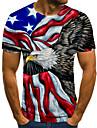 Men\'s T shirt Shirt 3D Print Animal 3D Print Print Short Sleeve Casual Tops Casual Fashion Round Neck Black / Red