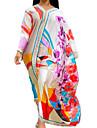 Women\'s Kaftan Dress Maxi long Dress Blue White Red Long Sleeve Floral Print Summer V Neck Elegant Loose 2021 S M L XL XXL