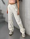 Dámské stylové Šik ven Pohodlné Kalhoty Volné Ležérní Denní Kalhoty Bez vzoru Plná délka Kapsy Vysoký pas Bílá