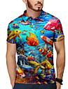 男性用 ゴルフシャツ テニスシャツ 3Dプリント グラフィック 観賞魚用 動物 ボタンダウン プリント 半袖 日常 トップの カジュアル デザイナー 大きくて背が高い ブルー / 夏