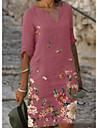 Női Ingruha Térdig érő ruha Arcpír rózsaszín Szürke Fekete Féhosszú Virágos Nyomtatott Ősz Tavasz V-alakú Elegáns Bő 2021 S M L XL XXL 3XL