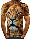 Hombre Camiseta Camisa Impresion 3D Animal Impresion 3D Estampado Manga Corta Casual Tops Casual Moda Escote Redondo Amarillo Claro