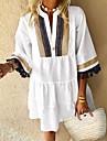 Women\'s A Line Dress Knee Length Dress Blue White Black Half Sleeve Solid Color Tassel Fringe Patchwork Spring Summer V Neck Casual Vintage Flare Cuff Sleeve Loose 2021 S M L XL XXL / Holiday