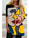 Women\'s T Shirt Dress Tee Dress Short Mini Dress Black Half Sleeve Color Block Geometric Print Spring Summer Round Neck Casual Holiday 2021 S M L XL XXL 3XL