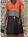 Women\'s Shift Dress Knee Length Dress Yellow Khaki Orange Short Sleeve Color Block Summer V Neck Hot Casual vacation dresses 2021 S M L XL XXL 3XL 4XL 5XL