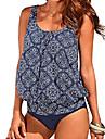 Női Bikini Strandruházat Fürdőruha Virágos Mértani Világoskék Lóhere Fekete Fürdőruha Fürdőruhák / 2 darab