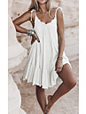 Women\'s Shift Dress Short Mini Dress White Black Brown Sleeveless Solid Color Backless Summer V Neck Casual 2021 S M L XL