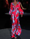 Women\'s Trumpet / Mermaid Dress Maxi long Dress Yellow Gray Green Red Long Sleeve Floral Print Print Fall Spring V Neck Classic & Timeless Elegant Party 2021 S M L XL XXL 3XL