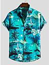 男性用 シャツ その他のプリント ゼブラ柄 襟付きシャツ プリント 半袖 日常 スリム トップの ビーチスタイル ボヘミアン ボランダウン ブルー