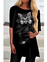 Women\'s T Shirt Dress Tee Dress Short Mini Dress Black Half Sleeve Cat Animal Print Spring Summer Round Neck Casual 2021 S M L XL XXL 3XL