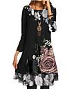 Women\'s Chiffon Dress Knee Length Dress Black Long Sleeve Floral Fall Spring Round Neck Casual 2021 S M L XL XXL 3XL