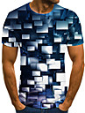 Men\'s T shirt 3D Print Geometric 3D Print Print Short Sleeve Casual Tops Casual Fashion Black / White