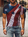 Men\'s Tee T shirt 3D Print Graphic Prints American Flag Independence Day Flag Print Short Sleeve Daily Tops Casual Designer Big and Tall Round Neck Red / Summer