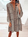 Women\'s Shift Dress Knee Length Dress Brown 3/4 Length Sleeve Leopard Print Layered Smocked Bow Spring Summer V Neck Casual Holiday Lantern Sleeve Loose 2021 S M L XL XXL