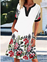 2021 europe and america amazon aliexpress new v-neck short-sleeved retro printed dress women\'s elegant lady dress