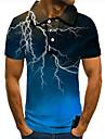 Pánské Golfová košile Tenisové tričko 3D tisk Blesk Grafické tisky Tlačítko dolů Krátký rukáv ulice Topy Na běžné nošení Módní Chladný Vodní modrá / Sport