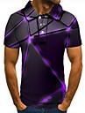 男性用 ゴルフシャツ テニスシャツ 3Dプリント 幾何学模様 グラフィック ボタンダウン 半袖 ストリート トップの カジュアル ファッション クール パープル / スポーツ
