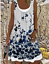 Women\'s Shift Dress Knee Length Dress White Sleeveless Floral Print Spring Summer Boat Neck Casual Holiday Loose 2021 S M L XL XXL 3XL