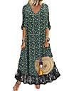 여성용 선 드레스 맥시 드레스 블랙 반 소매 플로럴 컬러 블럭 레이스 프린트 가을 봄 V 넥 우아함 캐쥬얼 홀리데이 2021 S M L XL XXL 3XL
