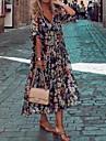 Women\'s Loose Midi Dress Half Sleeve Floral Print Print Spring Summer V Neck Vacation Boho Holiday Loose 2021 S M L XL XXL