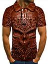 Men\'s Golf Shirt Tennis Shirt 3D Print Graphic Prints Skull Button-Down Short Sleeve Street Tops Casual Fashion Cool Brown / Sports