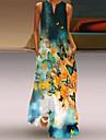 Women\'s A Line Dress Maxi long Dress Sleeveless Butterfly Flower Summer V Neck Casual Loose 2021 S M L XL XXL XXXL 4XL 5XL