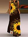 Women\'s Shift Dress Maxi long Dress Yellow Blue Green Orange White Black Sleeveless Flower / Floral Oil Painting Sunflower Spring Summer Elegant Casual Loose 2021 S M L XL XXL XXXL 4XL 5XL