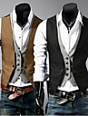 Bărbați Γιλέκο Muncă Mată Zvelt Bumbac / Poliester A bărbaților Costum Negru / Maro / Fără manșon / Afacere formală