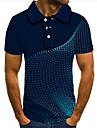 Pánské Golfová košile Tenisové tričko 3D tisk Křivka Geometrie Tlačítko dolů Krátký rukáv ulice Topy Na běžné nošení Módní Chladný Vodní modrá / Sport
