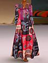 Women\'s Swing Dress Maxi long Dress Red Orange Long Sleeve Color Block Spring Summer Boho 2021 S M L XL XXL 3XL 4XL 5XL