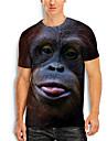 Tee T-shirt Homme 3D effet Imprimes Photos Orang-outan Animal Imprime Manches Courtes Quotidien Vacances Standard Polyester Simple Designer Grand et grand Col Rond / Ete