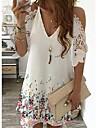 Women\'s Loose Short Mini Dress Short Sleeve Print Cold Shoulder Summer V Neck Casual 2021 S M L XL XXL 3XL 4XL 5XL