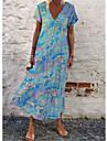 Women\'s Shift Dress Maxi long Dress Blue Purple Red Orange Short Sleeve Color Gradient Summer Casual 2021 S M L XL XXL 3XL 4XL 5XL