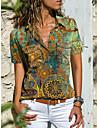 여성용 보헤미안 테마 블라우스 셔츠 그래픽 페이즐리 단추 프린트 셔츠 카라 캐쥬얼 스트리트 쉬크 탑스 푸른 루비 클로버