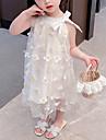 Toddler Little Girls\' Dress Flower Birthday Party Festival White Maxi Sleeveless Princess Sweet Dresses Summer