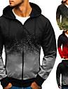 Men\'s Full Zip Hoodie Gradient Zipper Hooded Daily Fitness Sportswear Basic Hoodies Sweatshirts  Long Sleeve Army Green Gray Red