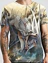 Hombre Unisexo Tee Camiseta Camisa Impresion 3D Dragon Estampados Animal Tallas Grandes Estampado Manga Corta Casual Tops Basico De Diseno Grande y alto Escote Redondo Amarillo Claro / Verano