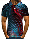 Pánské Golfová košile Tenisové tričko 3D tisk 3D Grafické tisky Tlačítko dolů Krátký rukáv ulice Topy Na běžné nošení Módní Chladný Vodní modrá / Sport